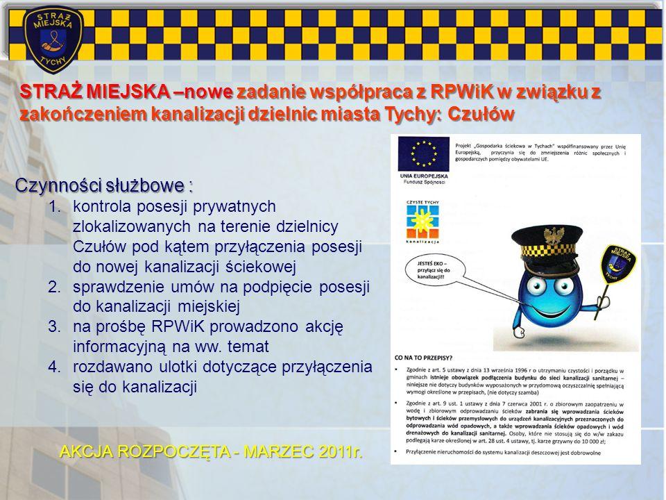 STRAŻ MIEJSKA –nowe zadanie współpraca z RPWiK w związku z zakończeniem kanalizacji dzielnic miasta Tychy: Czułów Czynności służbowe : 1.kontrola pose