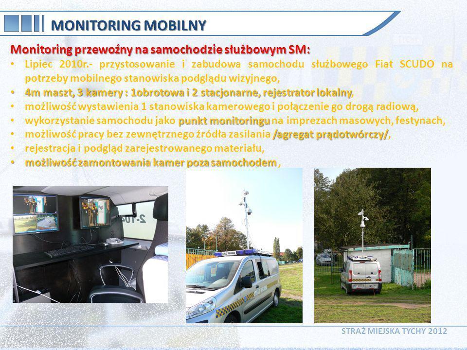 STRAŻ MIEJSKA TYCHY 2012 MONITORING MOBILNY Monitoring przewoźny na samochodzie służbowym SM: Lipiec 2010r.- przystosowanie i zabudowa samochodu służb
