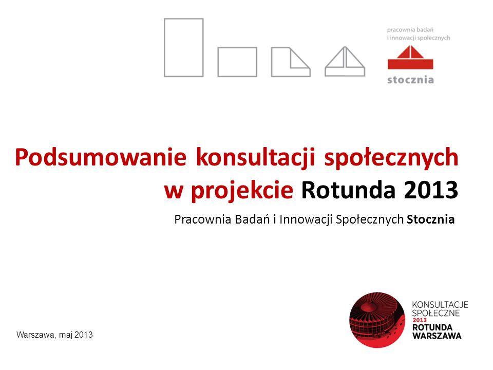 Podsumowanie konsultacji społecznych w projekcie Rotunda 2013 Pracownia Badań i Innowacji Społecznych Stocznia Warszawa, maj 2013