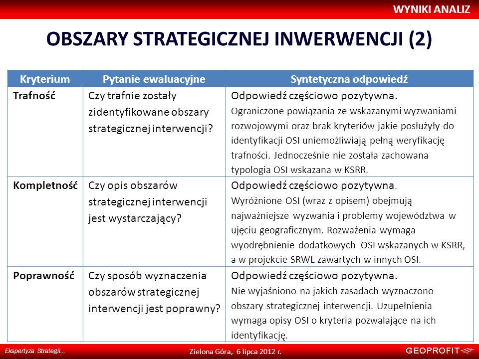 OBSZARY STRATEGICZNEJ INWERWENCJI (2) WYNIKI ANALIZ Ekspertyza Strategii… Zielona Góra, 6 lipca 2012 r. KryteriumPytanie ewaluacyjneSyntetyczna odpowi