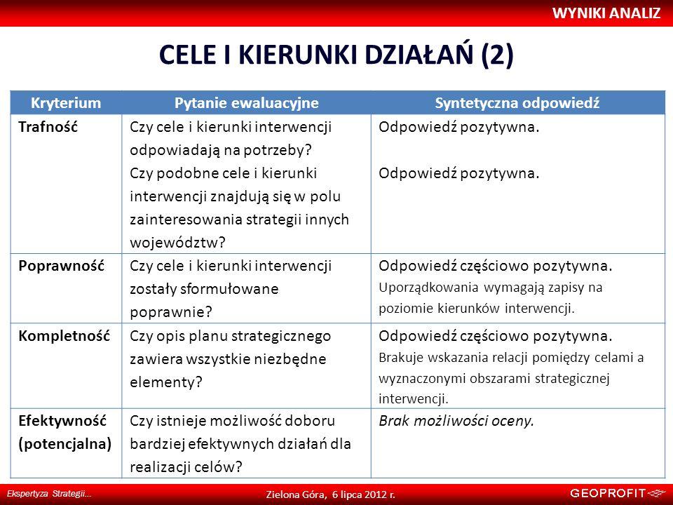 CELE I KIERUNKI DZIAŁAŃ (2) WYNIKI ANALIZ Ekspertyza Strategii… Zielona Góra, 6 lipca 2012 r. KryteriumPytanie ewaluacyjneSyntetyczna odpowiedź Trafno
