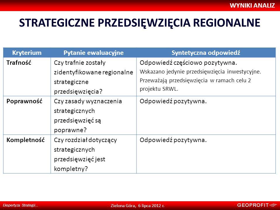 STRATEGICZNE PRZEDSIĘWZIĘCIA REGIONALNE WYNIKI ANALIZ Ekspertyza Strategii… Zielona Góra, 6 lipca 2012 r. KryteriumPytanie ewaluacyjneSyntetyczna odpo