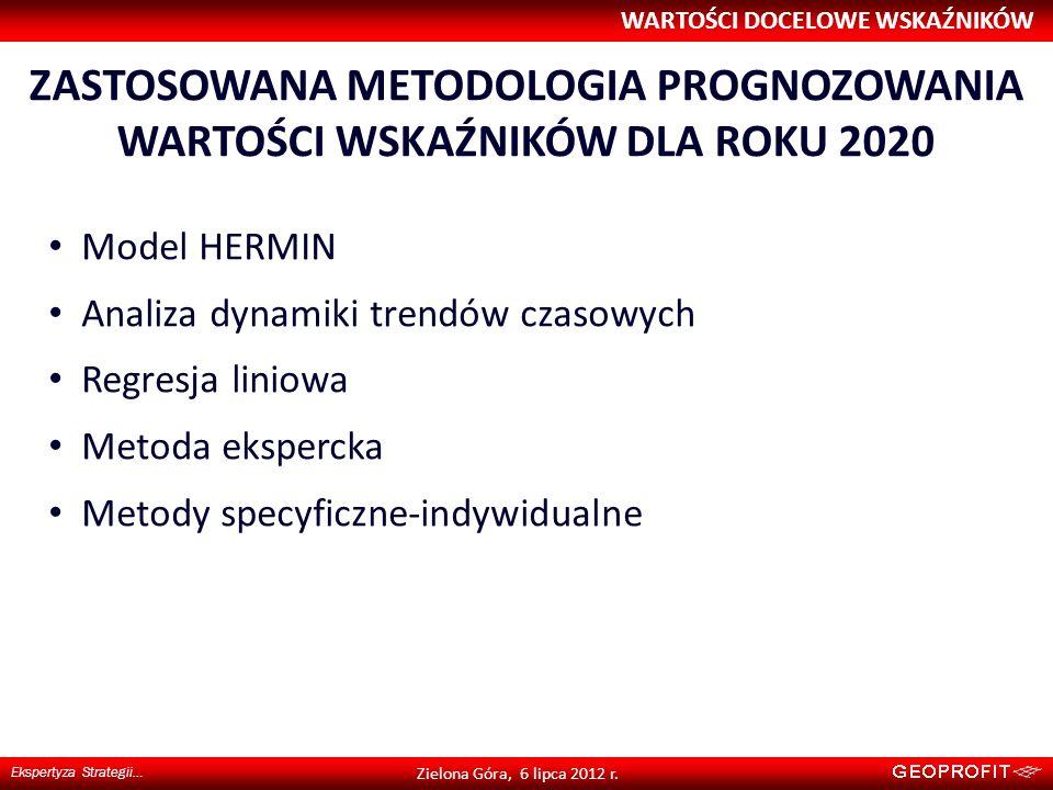 ZASTOSOWANA METODOLOGIA PROGNOZOWANIA WARTOŚCI WSKAŹNIKÓW DLA ROKU 2020 WARTOŚCI DOCELOWE WSKAŹNIKÓW Ekspertyza Strategii… Zielona Góra, 6 lipca 2012