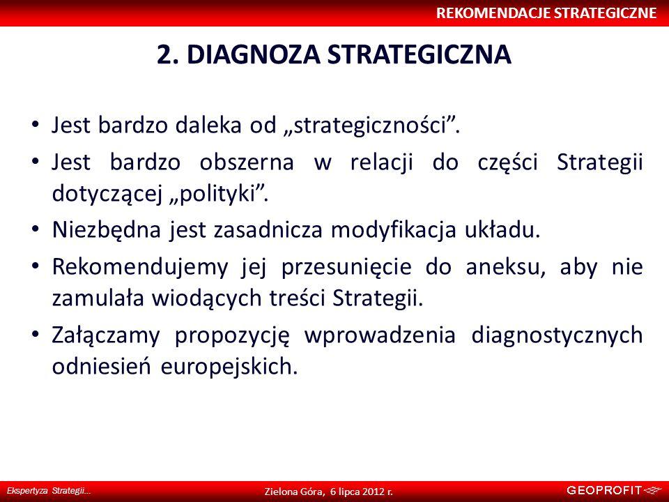 2. DIAGNOZA STRATEGICZNA REKOMENDACJE STRATEGICZNE Ekspertyza Strategii… Zielona Góra, 6 lipca 2012 r. Jest bardzo daleka od strategiczności. Jest bar