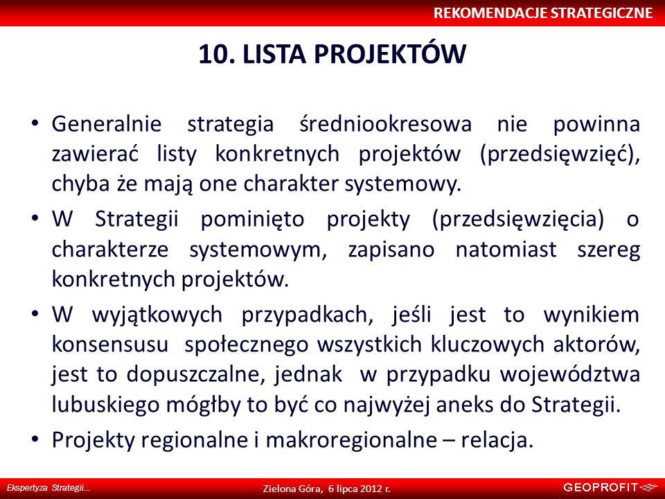 10. LISTA PROJEKTÓW REKOMENDACJE STRATEGICZNE Ekspertyza Strategii… Zielona Góra, 6 lipca 2012 r. Generalnie strategia średniookresowa nie powinna zaw