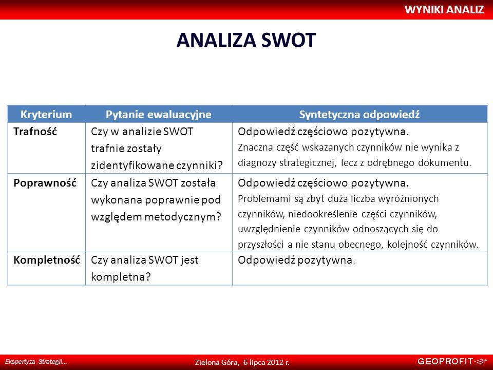ANALIZA SWOT WYNIKI ANALIZ Ekspertyza Strategii… Zielona Góra, 6 lipca 2012 r. KryteriumPytanie ewaluacyjneSyntetyczna odpowiedź Trafność Czy w analiz