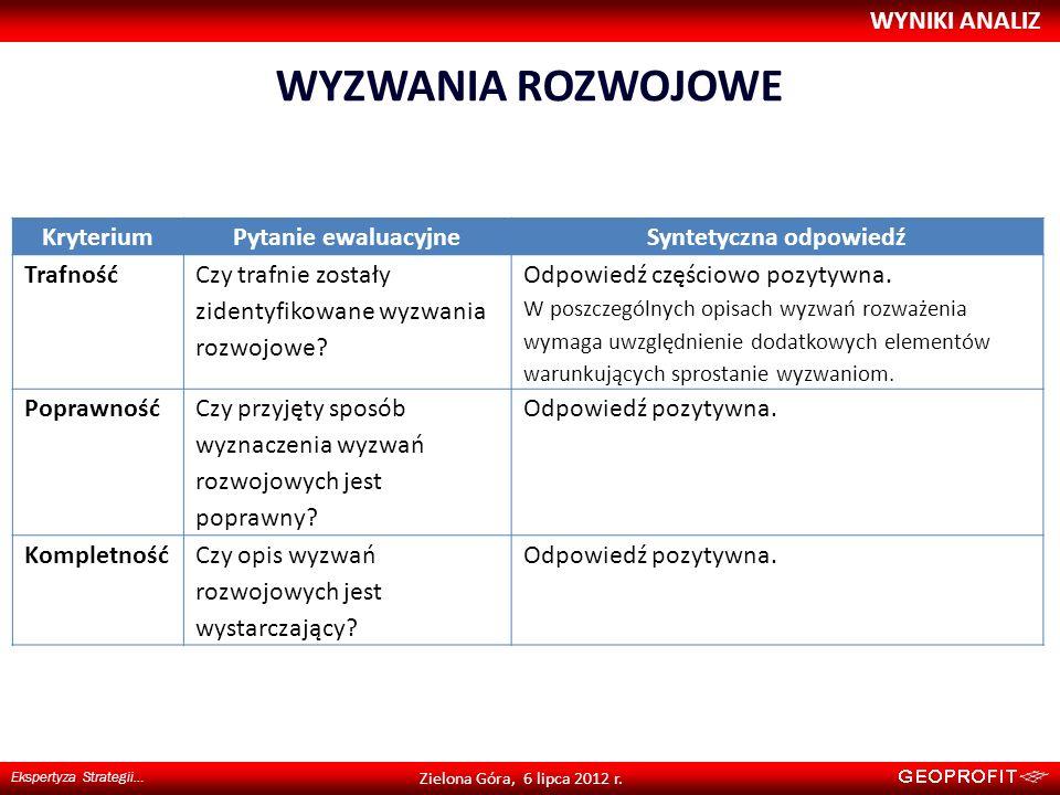 WYZWANIA ROZWOJOWE WYNIKI ANALIZ Ekspertyza Strategii… Zielona Góra, 6 lipca 2012 r. KryteriumPytanie ewaluacyjneSyntetyczna odpowiedź Trafność Czy tr