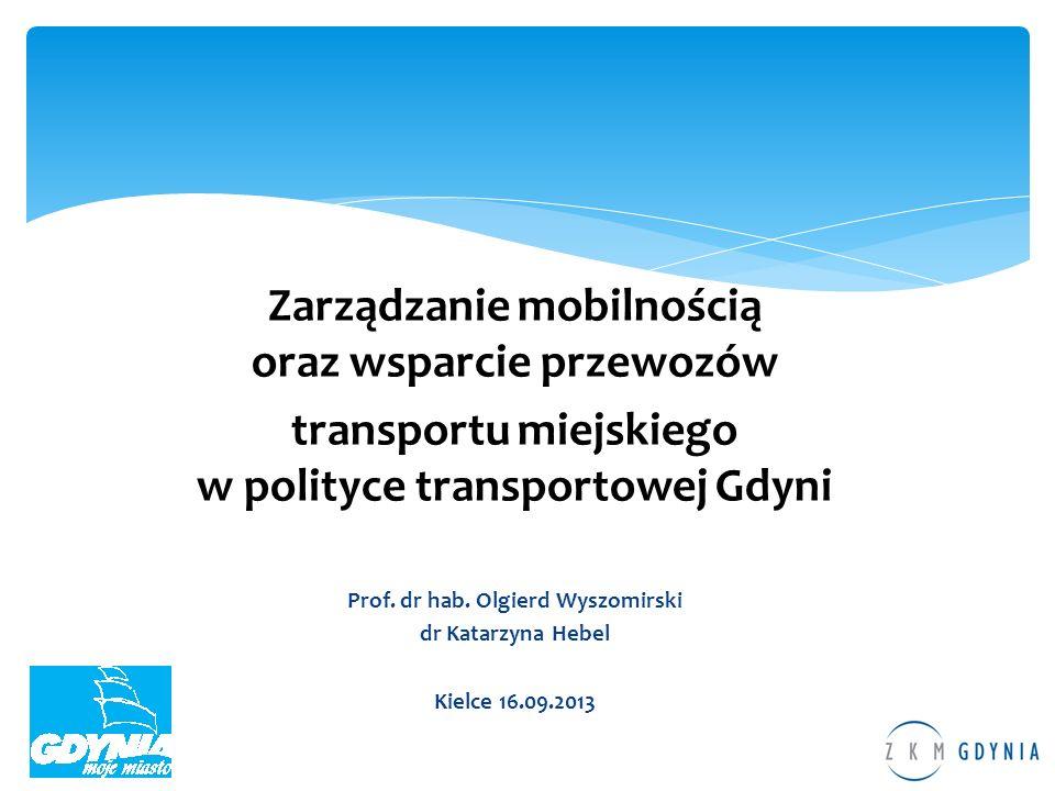 Zarządzanie mobilnością oraz wsparcie przewozów transportu miejskiego w polityce transportowej Gdyni Prof. dr hab. Olgierd Wyszomirski dr Katarzyna He