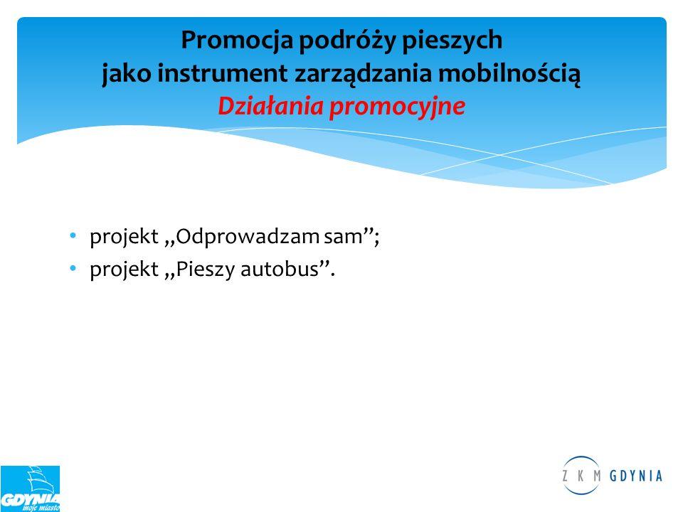 projekt Odprowadzam sam; projekt Pieszy autobus. Promocja podróży pieszych jako instrument zarządzania mobilnością Działania promocyjne