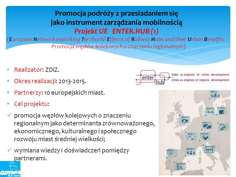 Realizator: ZDiZ. Okres realizacji: 2013-2015. Partnerzy: 10 europejskich miast. Cel projektu: promocja węzłów kolejowych o znaczeniu regionalnym jako