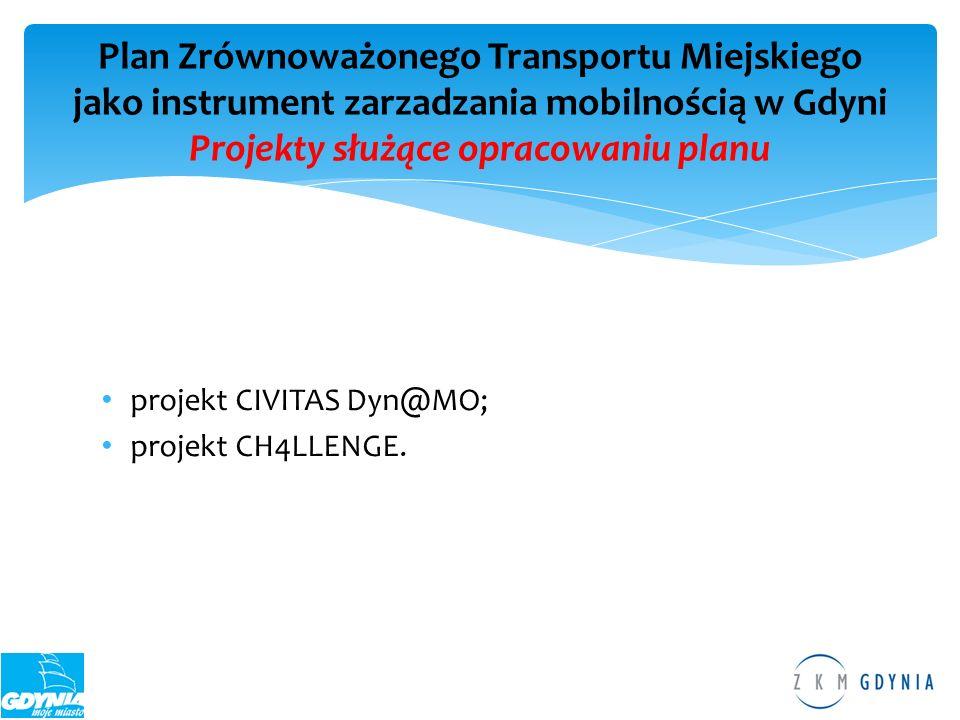 projekt CIVITAS Dyn@MO; projekt CH4LLENGE. Plan Zrównoważonego Transportu Miejskiego jako instrument zarzadzania mobilnością w Gdyni Projekty służące