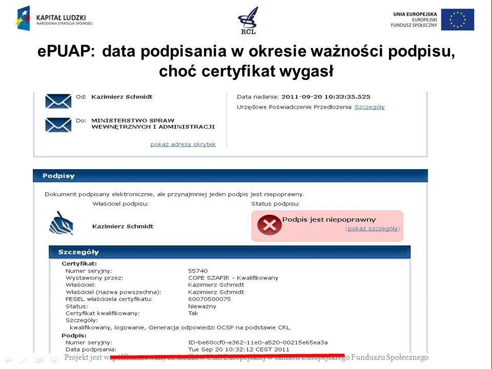 ePUAP: data podpisania w okresie ważności podpisu, choć certyfikat wygasł