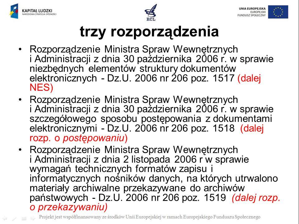 trzy rozporządzenia Rozporządzenie Ministra Spraw Wewnętrznych i Administracji z dnia 30 października 2006 r. w sprawie niezbędnych elementów struktur