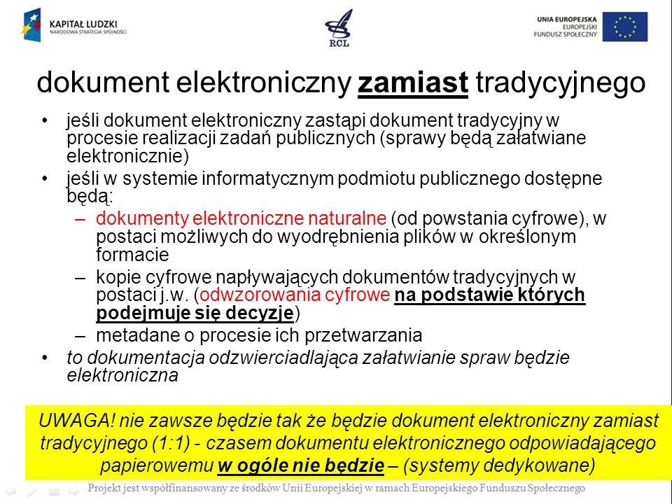 dokument elektroniczny zamiast tradycyjnego jeśli dokument elektroniczny zastąpi dokument tradycyjny w procesie realizacji zadań publicznych (sprawy b