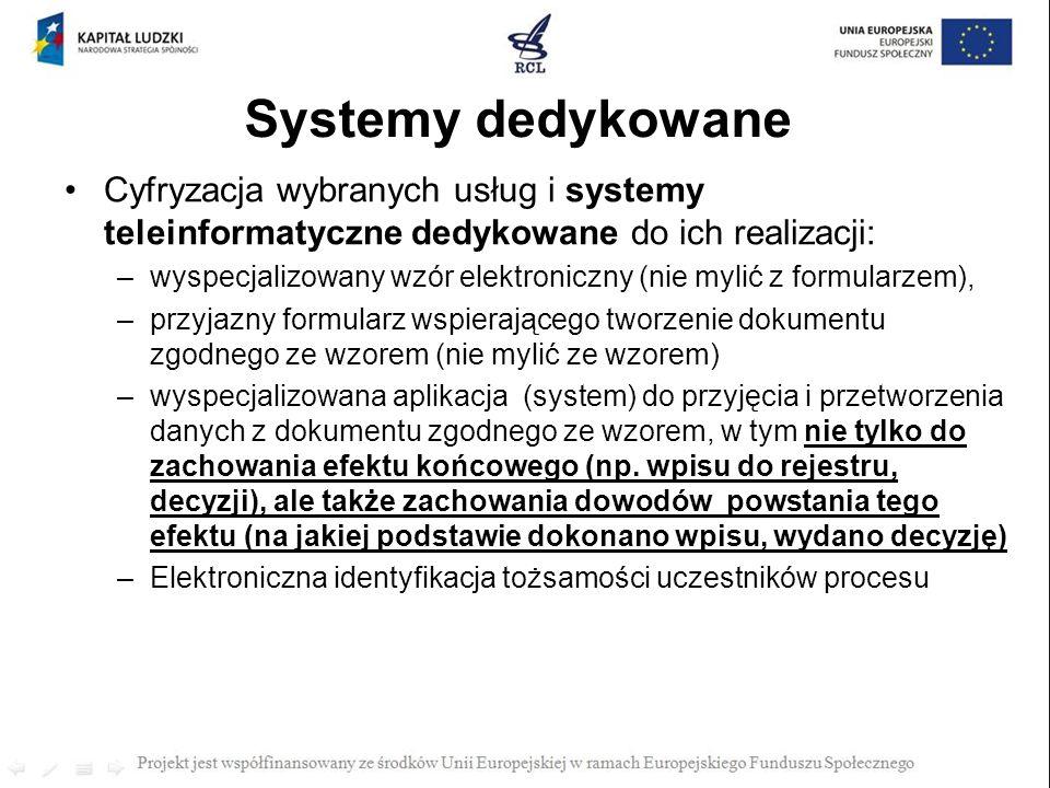 Systemy dedykowane Cyfryzacja wybranych usług i systemy teleinformatyczne dedykowane do ich realizacji: –wyspecjalizowany wzór elektroniczny (nie myli