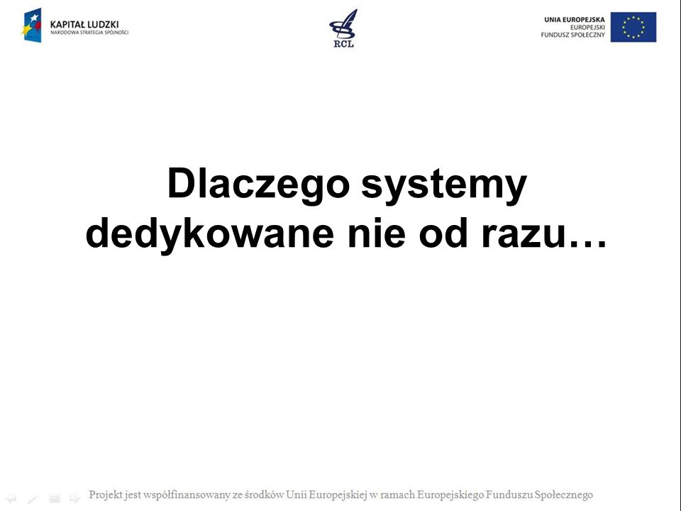 Dlaczego systemy dedykowane nie od razu…
