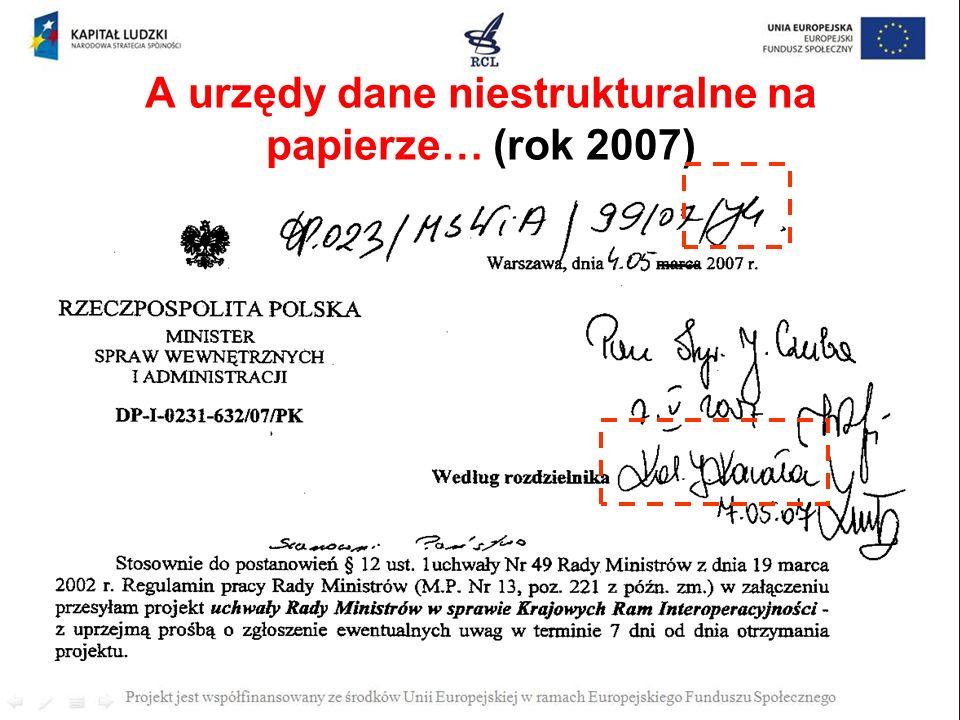 A urzędy dane niestrukturalne na papierze… (rok 2007)