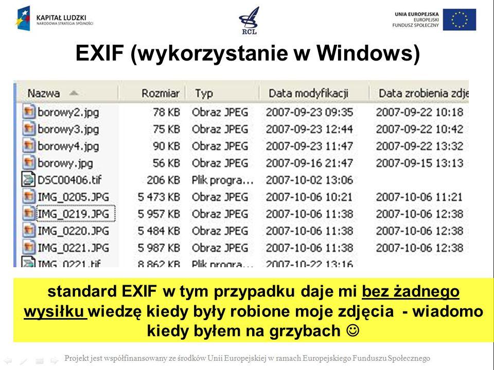 standard EXIF w tym przypadku daje mi bez żadnego wysiłku wiedzę kiedy były robione moje zdjęcia - wiadomo kiedy byłem na grzybach EXIF (wykorzystanie