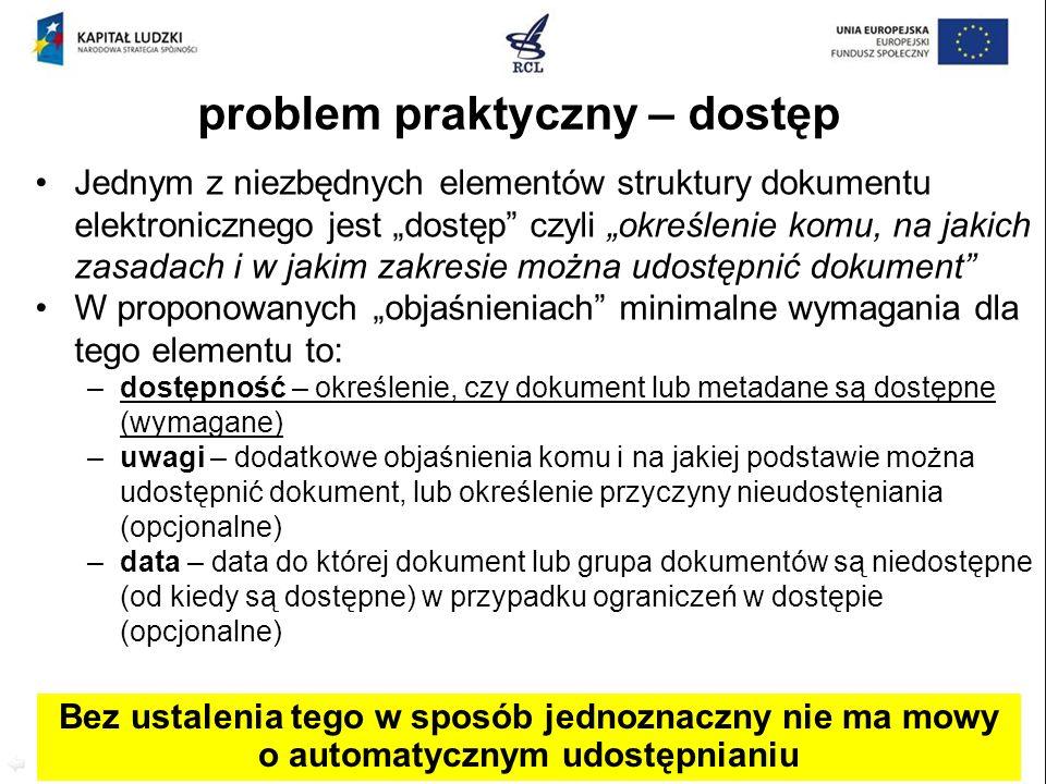 problem praktyczny – dostęp Jednym z niezbędnych elementów struktury dokumentu elektronicznego jest dostęp czyli określenie komu, na jakich zasadach i