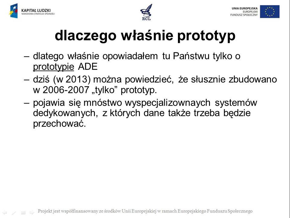 dlaczego właśnie prototyp –dlatego właśnie opowiadałem tu Państwu tylko o prototypie ADE –dziś (w 2013) można powiedzieć, że słusznie zbudowano w 2006
