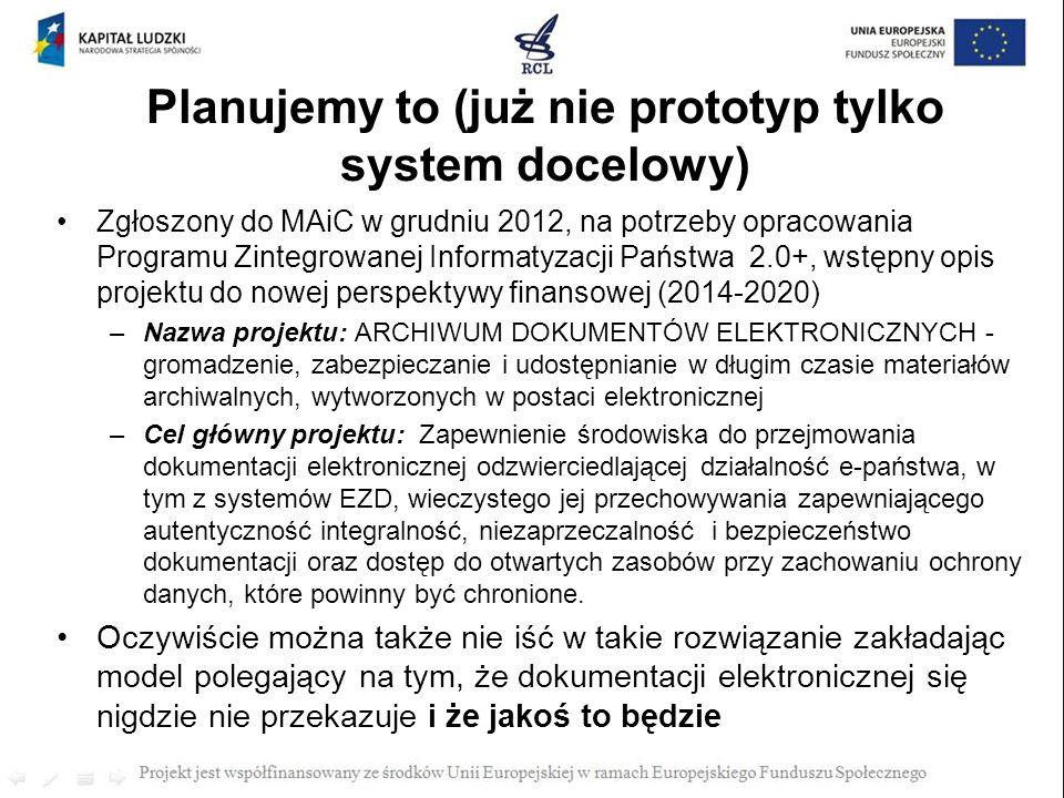 Planujemy to (już nie prototyp tylko system docelowy) Zgłoszony do MAiC w grudniu 2012, na potrzeby opracowania Programu Zintegrowanej Informatyzacji