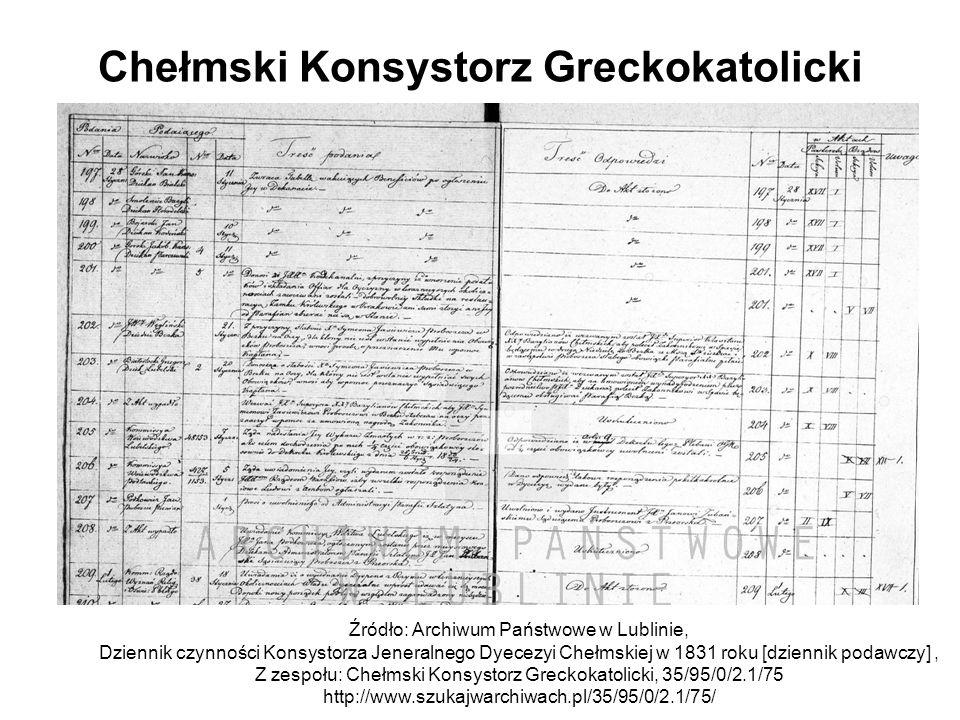Chełmski Konsystorz Greckokatolicki Źródło: Archiwum Państwowe w Lublinie, Dziennik czynności Konsystorza Jeneralnego Dyecezyi Chełmskiej w 1831 roku