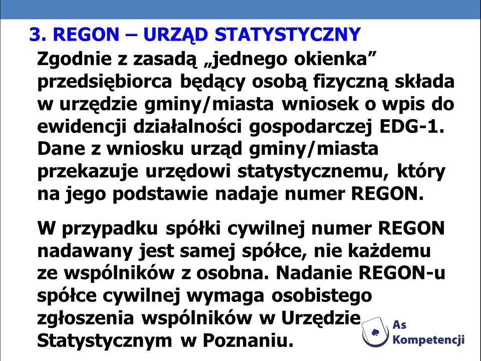 3. REGON – URZĄD STATYSTYCZNY Zgodnie z zasadą jednego okienka przedsiębiorca będący osobą fizyczną składa w urzędzie gminy/miasta wniosek o wpis do e