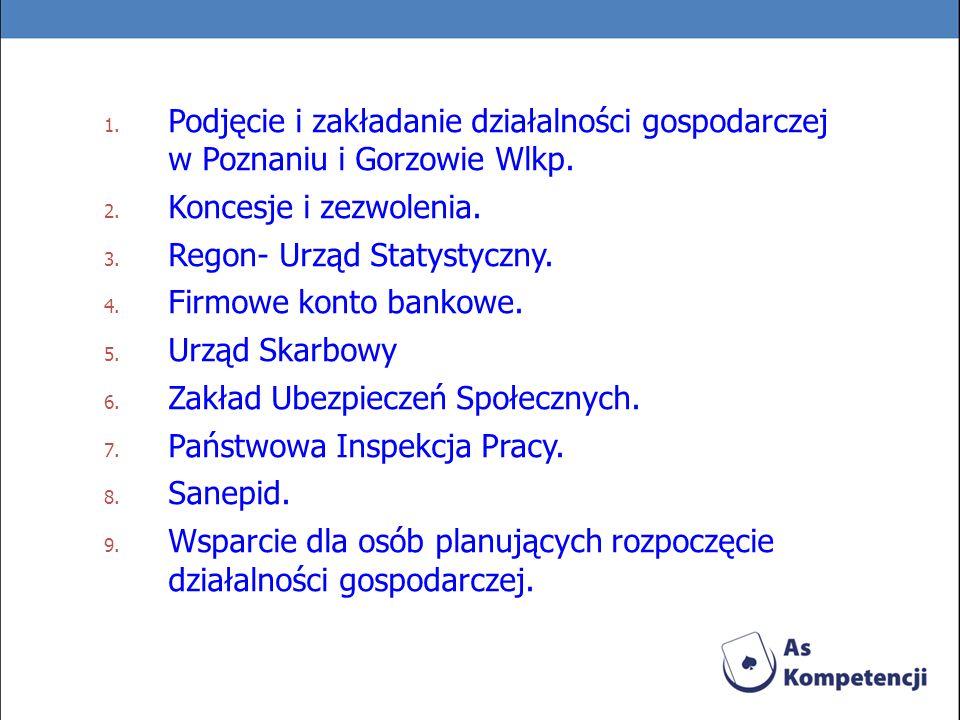 1. Podjęcie i zakładanie działalności gospodarczej w Poznaniu i Gorzowie Wlkp. 2. Koncesje i zezwolenia. 3. Regon- Urząd Statystyczny. 4. Firmowe kont