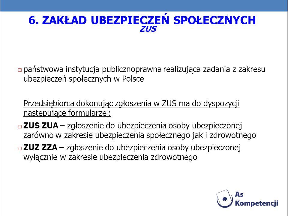ZUS państwowa instytucja publicznoprawna realizująca zadania z zakresu ubezpieczeń społecznych w Polsce Przedsiębiorca dokonując zgłoszenia w ZUS ma d