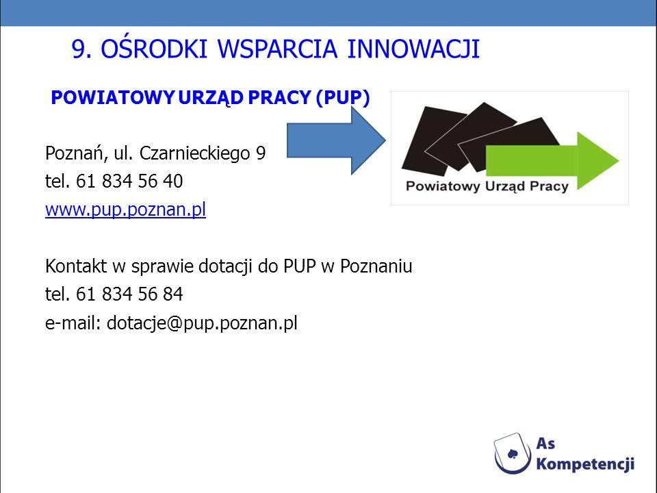 POWIATOWY URZĄD PRACY (PUP) Poznań, ul. Czarnieckiego 9 tel. 61 834 56 40 www.pup.poznan.pl Kontakt w sprawie dotacji do PUP w Poznaniu tel. 61 834 56