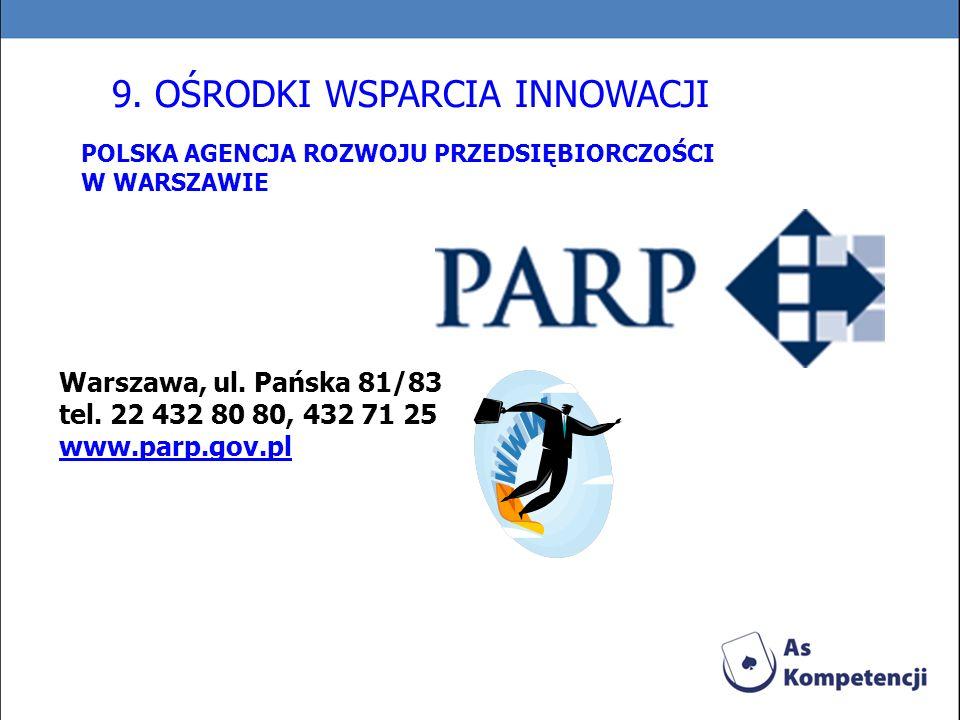 POLSKA AGENCJA ROZWOJU PRZEDSIĘBIORCZOŚCI W WARSZAWIE Warszawa, ul. Pańska 81/83 tel. 22 432 80 80, 432 71 25 www.parp.gov.pl 9. OŚRODKI WSPARCIA INNO