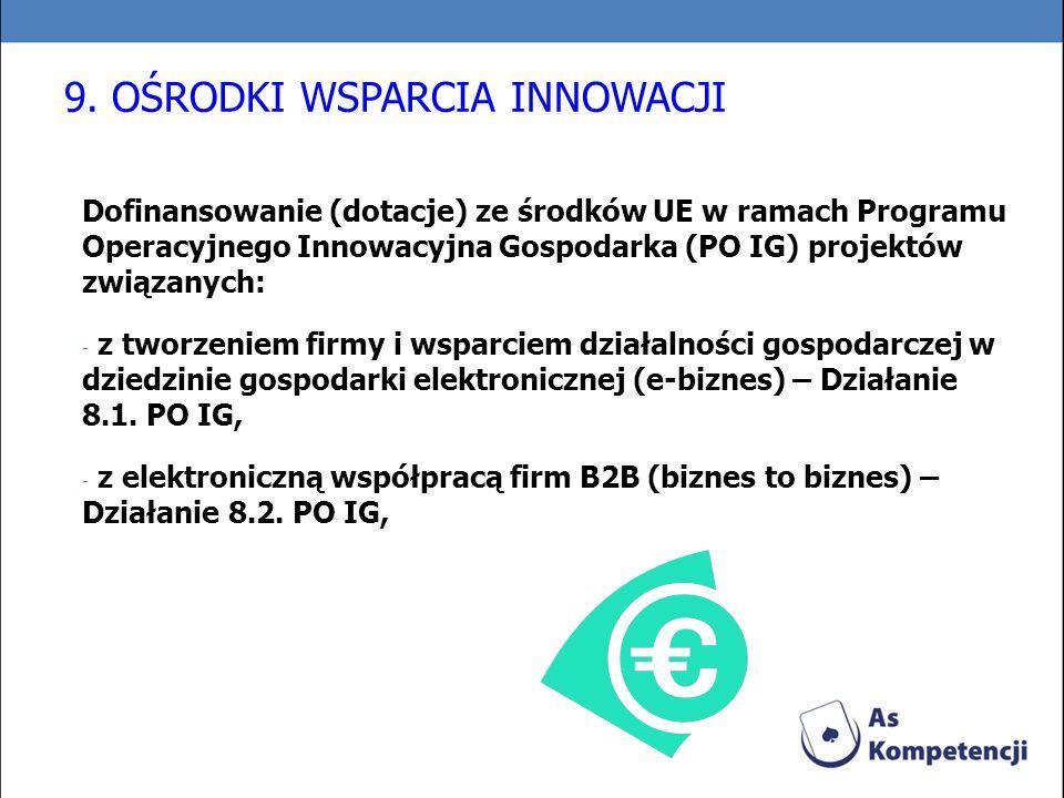 Dofinansowanie (dotacje) ze środków UE w ramach Programu Operacyjnego Innowacyjna Gospodarka (PO IG) projektów związanych: - z tworzeniem firmy i wspa