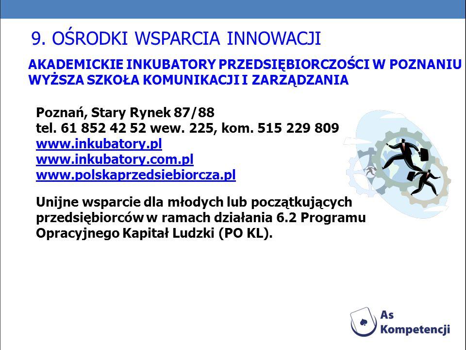 AKADEMICKIE INKUBATORY PRZEDSIĘBIORCZOŚCI W POZNANIU WYŻSZA SZKOŁA KOMUNIKACJI I ZARZĄDZANIA Poznań, Stary Rynek 87/88 tel. 61 852 42 52 wew. 225, kom