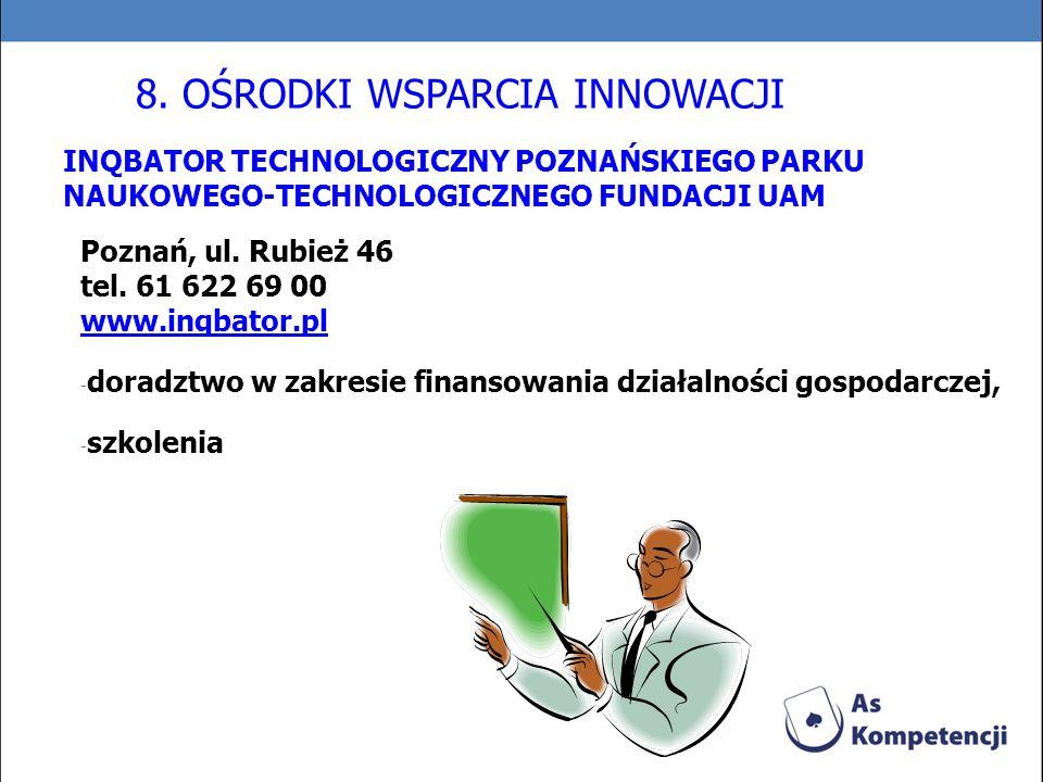 INQBATOR TECHNOLOGICZNY POZNAŃSKIEGO PARKU NAUKOWEGO-TECHNOLOGICZNEGO FUNDACJI UAM Poznań, ul. Rubież 46 tel. 61 622 69 00 www.inqbator.pl - doradztwo