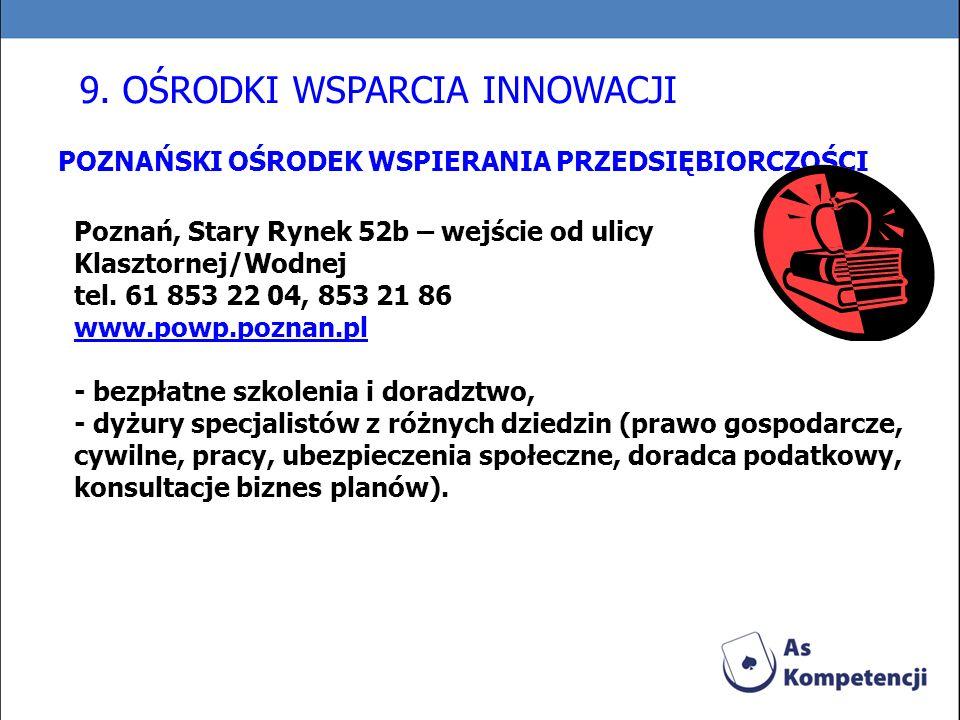 POZNAŃSKI OŚRODEK WSPIERANIA PRZEDSIĘBIORCZOŚCI Poznań, Stary Rynek 52b – wejście od ulicy Klasztornej/Wodnej tel. 61 853 22 04, 853 21 86 www.powp.po