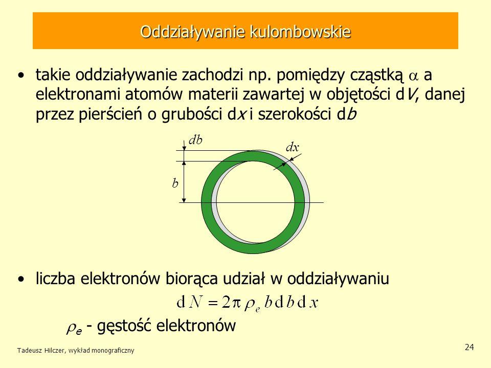 Oddziaływanie kulombowskie takie oddziaływanie zachodzi np. pomiędzy cząstką a elektronami atomów materii zawartej w objętości dV, danej przez pierści