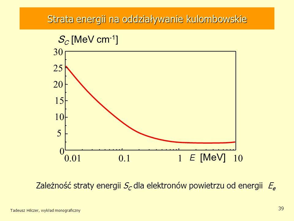 39 Zależność straty energii S C dla elektronów powietrzu od energii E e E [MeV] S C [MeV cm -1 ] 0.010.1110 0 5 15 20 25 30 Strata energii na oddziaływanie kulombowskie Tadeusz Hilczer, wykład monograficzny