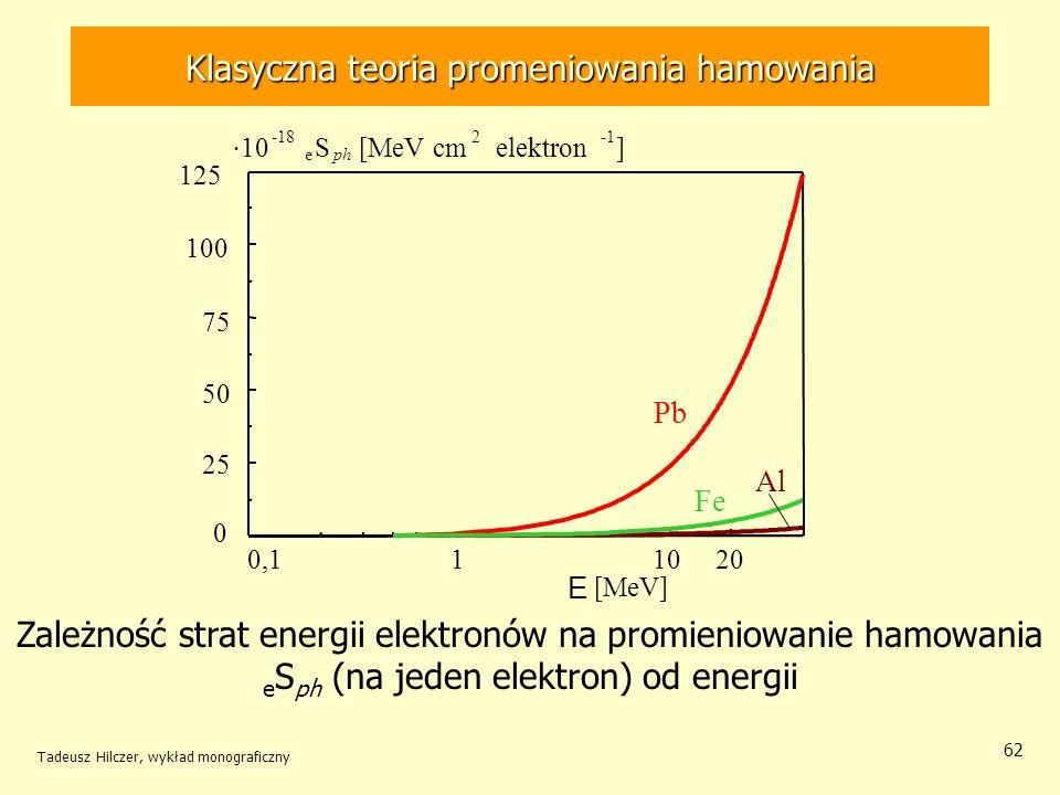 62 Zależność strat energii elektronów na promieniowanie hamowania e S ph (na jeden elektron) od energii 0,1 1 10 20 E [MeV] Al 0 25 50 75 100 125 Pb Fe 10 -18 e S ph [MeV cm 2 elektron ] Klasyczna teoria promeniowania hamowania Tadeusz Hilczer, wykład monograficzny