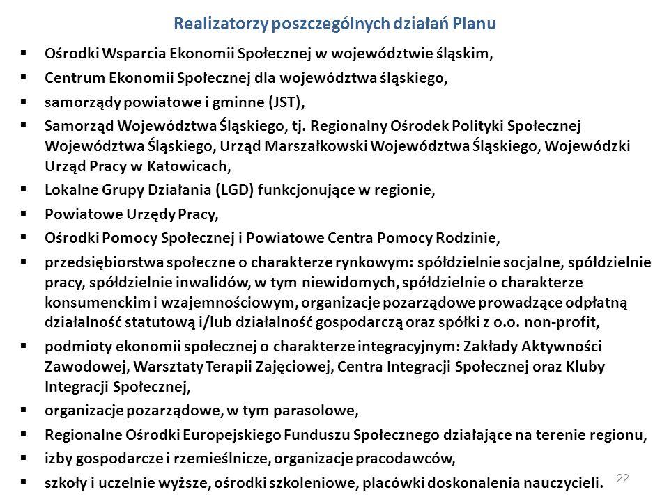 Realizatorzy poszczególnych działań Planu Ośrodki Wsparcia Ekonomii Społecznej w województwie śląskim, Centrum Ekonomii Społecznej dla województwa ślą