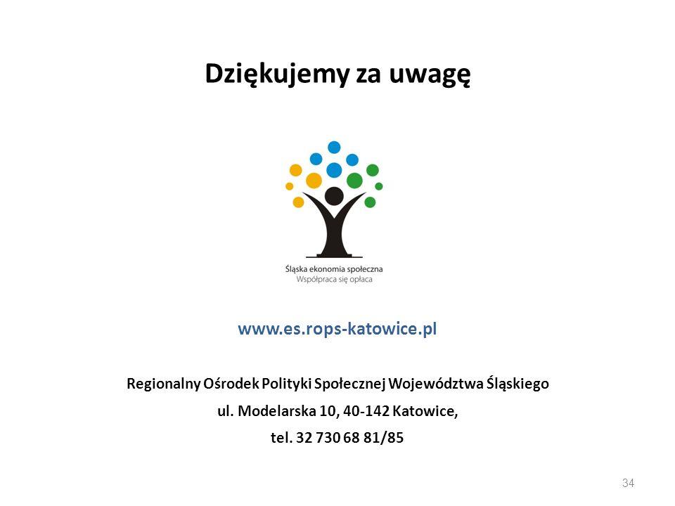 Dziękujemy za uwagę www.es.rops-katowice.pl Regionalny Ośrodek Polityki Społecznej Województwa Śląskiego ul. Modelarska 10, 40-142 Katowice, tel. 32 7