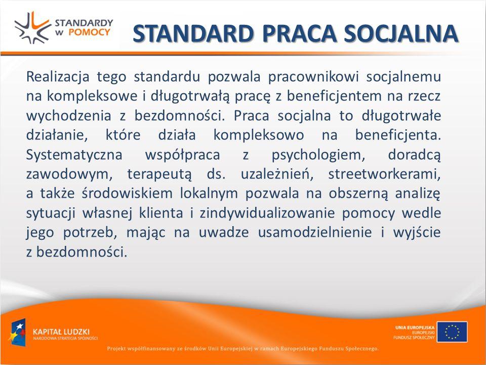 STANDARD PRACA SOCJALNA Realizacja tego standardu pozwala pracownikowi socjalnemu na kompleksowe i długotrwałą pracę z beneficjentem na rzecz wychodze