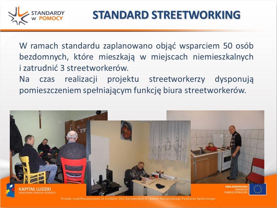 STANDARD STREETWORKING W ramach standardu zaplanowano objąć wsparciem 50 osób bezdomnych, które mieszkają w miejscach niemieszkalnych i zatrudnić 3 st