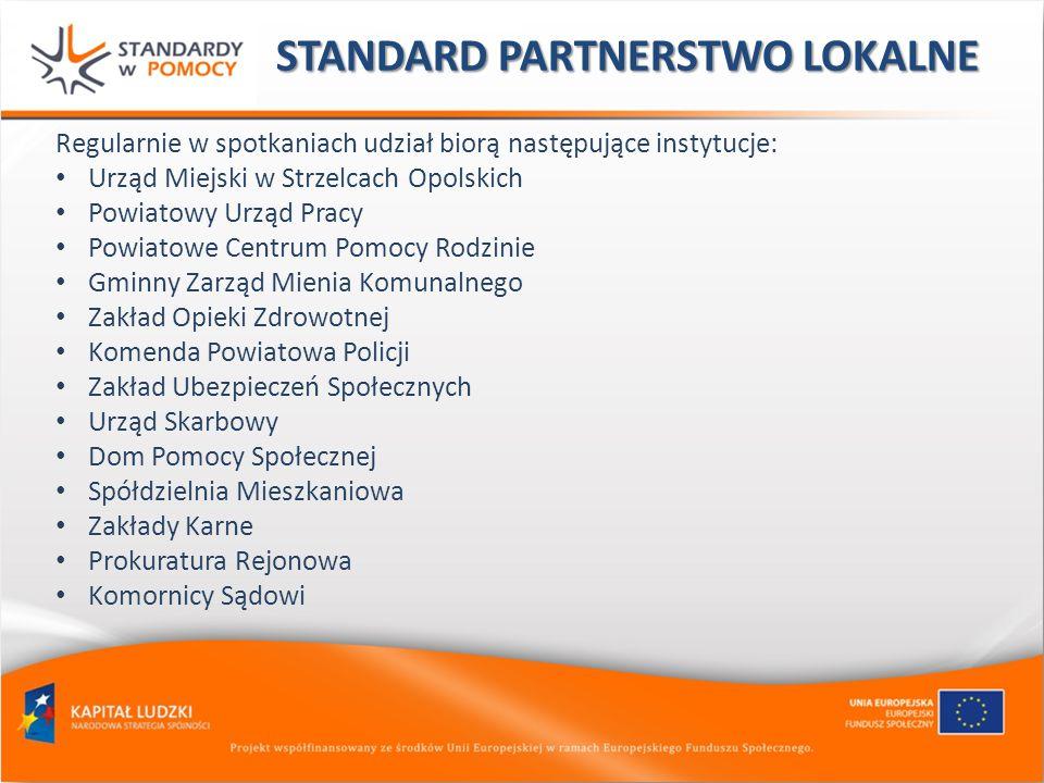 STANDARD PARTNERSTWO LOKALNE Regularnie w spotkaniach udział biorą następujące instytucje: Urząd Miejski w Strzelcach Opolskich Powiatowy Urząd Pracy