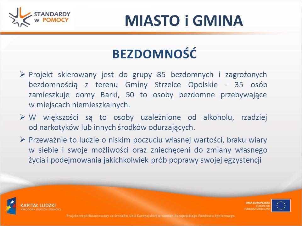 MIASTO i GMINA BEZDOMNOŚĆ Projekt skierowany jest do grupy 85 bezdomnych i zagrożonych bezdomnością z terenu Gminy Strzelce Opolskie - 35 osób zamiesz