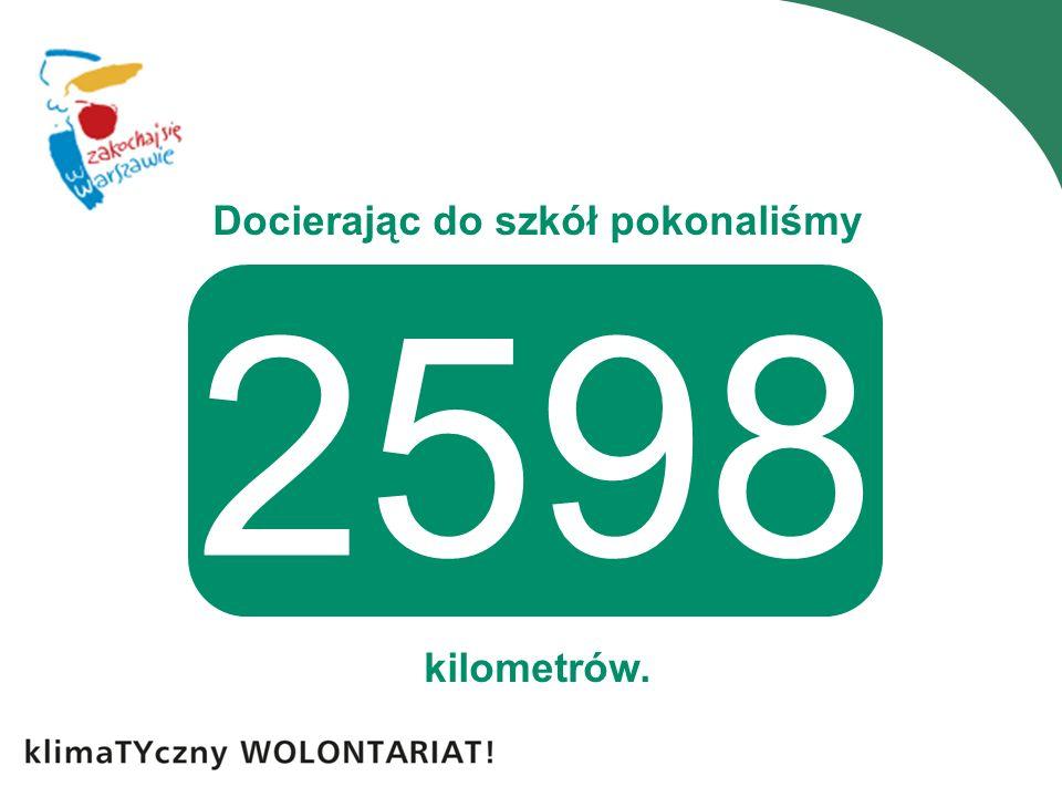 Docierając do szkół pokonaliśmy kilometrów. 2598