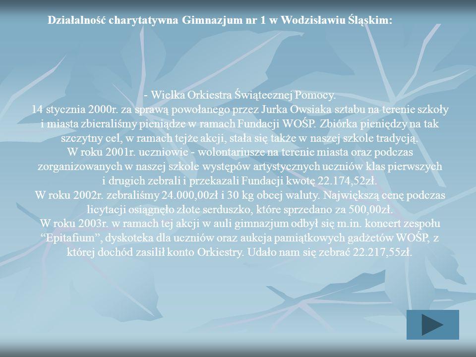 Działalność charytatywna Gimnazjum nr 1 w Wodzisławiu Śląskim: - Wielka Orkiestra Świątecznej Pomocy. 14 stycznia 2000r. za sprawą powołanego przez Ju