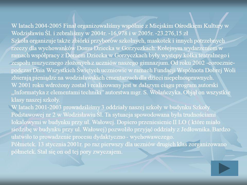 W latach 2004-2005 Finał organizowaliśmy wspólnie z Miejskim Ośrodkiem Kultury w Wodzisławiu Śl. i zebraliśmy w 2004r. -16,978 i w 2005r. -23.276,15 z