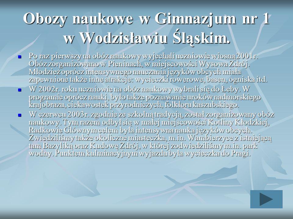 Obozy naukowe w Gimnazjum nr 1 w Wodzisławiu Śląskim. Po raz pierwszy na obóz naukowy wyjechali uczniowie wiosną 2001r. Obóz zorganizowano w Pieninach