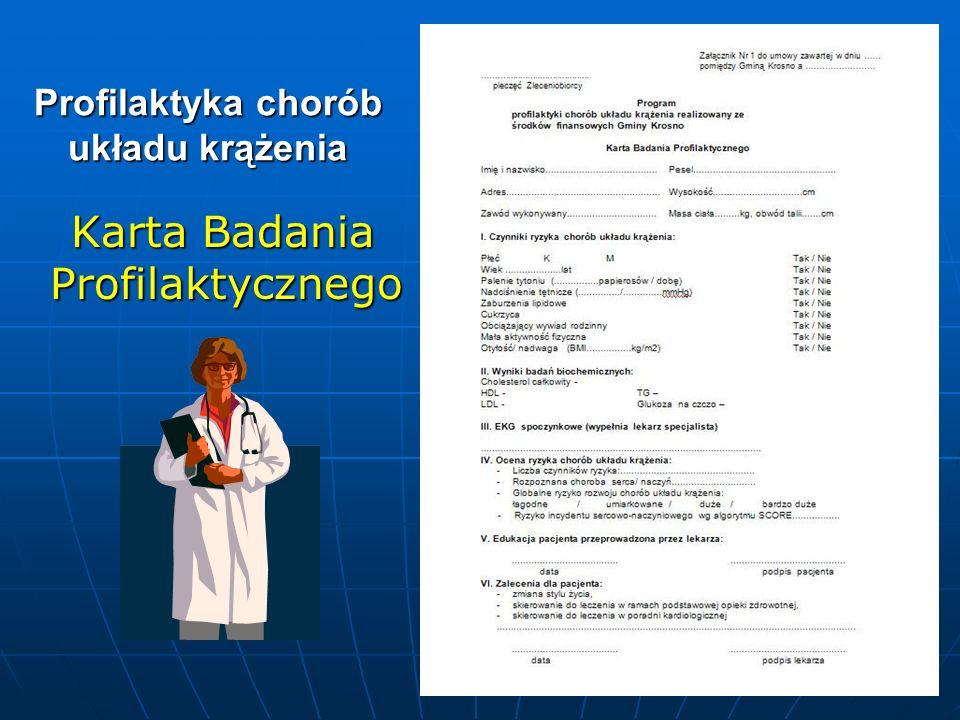 Profilaktyka chorób układu krążenia Karta Badania Profilaktycznego Karta Badania Profilaktycznego