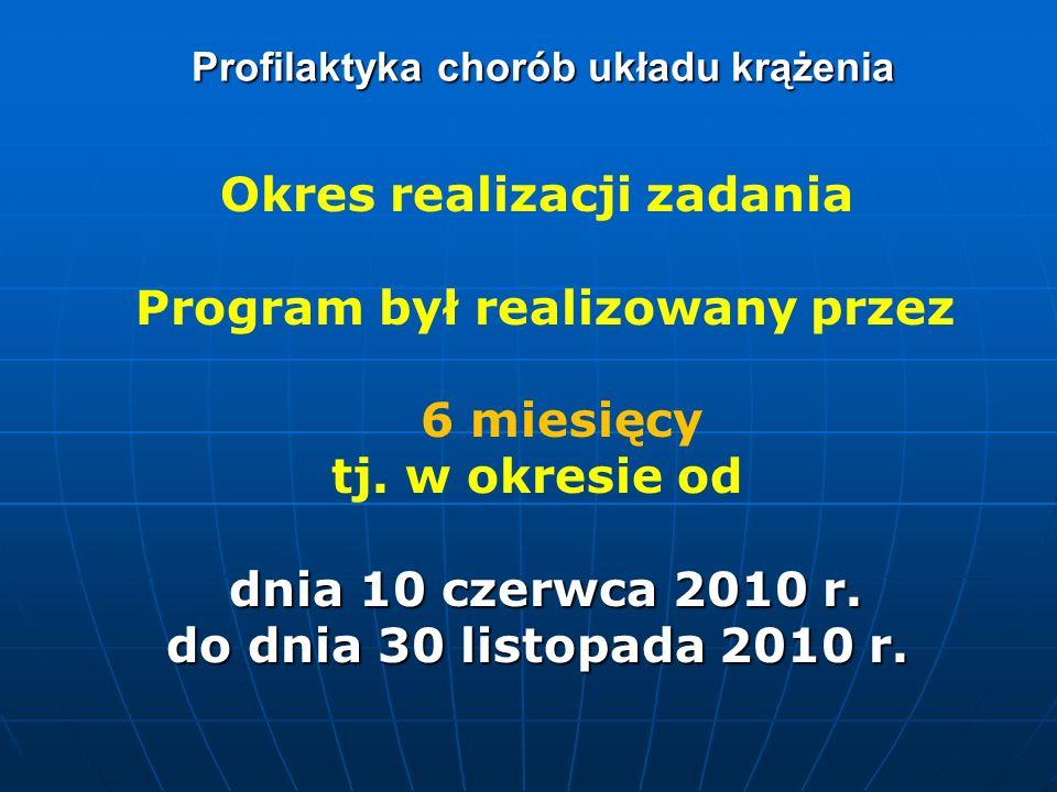 Profilaktyka chorób układu krążenia Okres realizacji zadania Program był realizowany przez 6 miesięcy tj. w okresie od dnia 10 czerwca 2010 r. dnia 10